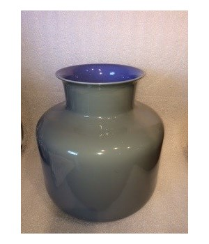 Porcelain Monk Vase, Lavender Interior and Steel Grey Exterior