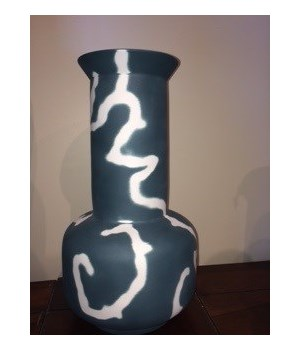 Medium Porcelain Sage Vase, Sandblast, Racing Green Exterior