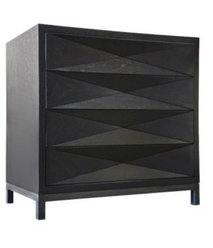 Diamante Nightstand, Walnut, Black Shellac