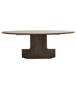Walnut Statice Oval Dining Table, Dark Shellac