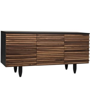 Orillia Sideboard, Walnut, 3 Doors, 3 Sections, 2 Adj Shelves, Black Shellac