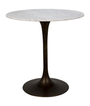 Laredo Bar Table, Aged Brass, White Stone Top