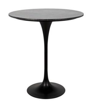 Laredo Bar Table, Black Metal with Black Stone Top