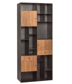 Oksana Bookcase, Walnut and Metal