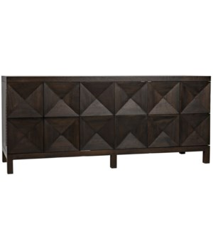 Quadrant 3 Door Sideboard, Ebony Walnut