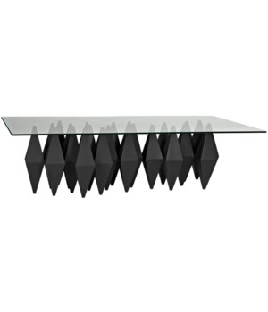 Bast Coffee Table with Glass Top, Black Metal