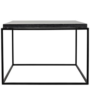 Lomax Coffee Table, Black Metal with Black Stone