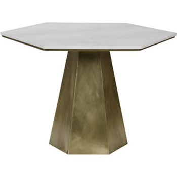 Demetria Table, Metal with Brass, White Stone Top