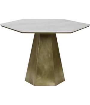 Demeria Table, Metal with Brass, White Stone Top