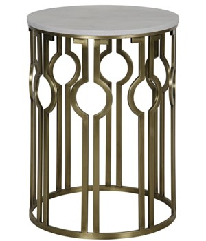 Natine Side Table, Antique Brass, Metal and Quartz