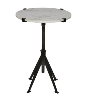 Edith Adjustable Side Table, Black Metal, Small