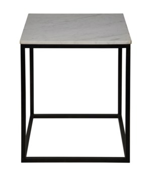 Manning Side Table, Black Metal with Quartz Top, Large