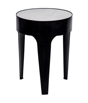 Cylinder Side Table, Black Metal, Small