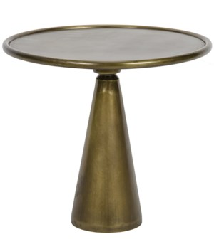 Hiro Short Side Table, Metal w/ Antique Brass