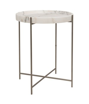 Chico Side Table, Antique Silver