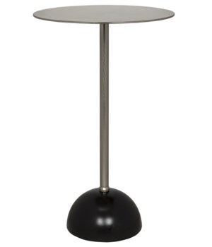 Celio Side Table, Antique Silver, Black Base