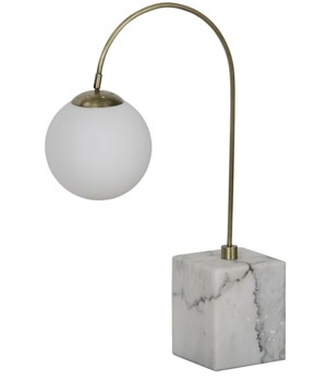 Soldity Table Lamp, Antique Brass, Marble Base