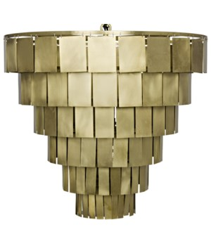 Shield Chandelier, Antique Brass Finish