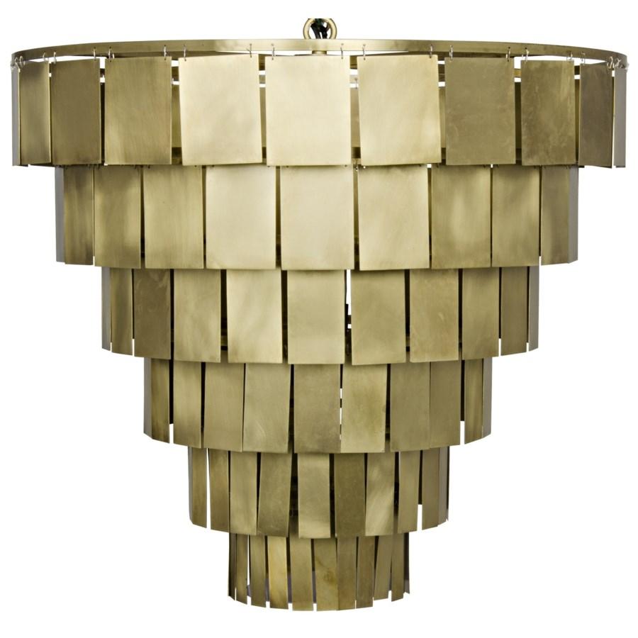 Shield Chandelier, Antique Brass Finish
