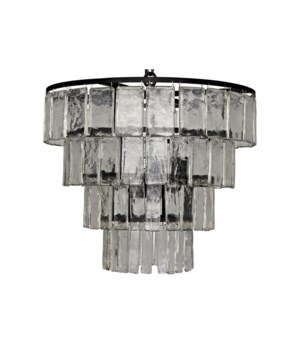 Carnegie Chandelier, Black Metal, Medium