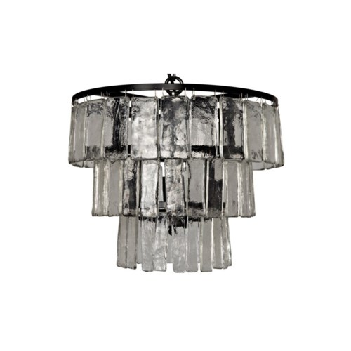 Carnegie Chandelier, Black Metal, Small