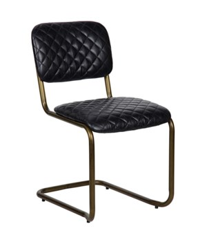 0037 Dining Chair, Vintage Black Leather