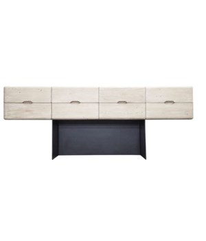 Begonia Sideboard, 8 Drawers, RL, Steel Base, Grey Wash