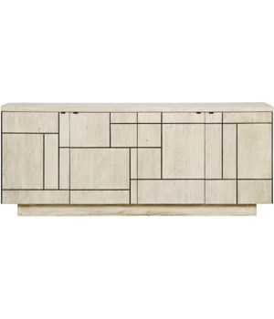 Bluma Console w/ Steel Insets, 4 Doors, Grey Wash Wax