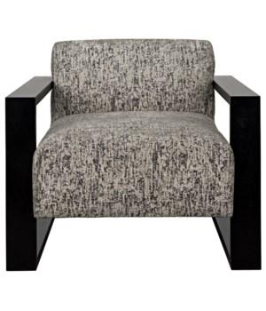 Oakdale Chair, Walnut Frame, Black Shellac, Rubble Concrete, GR B