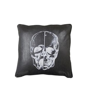 Skull Pillow, Black Fabric, 22x22