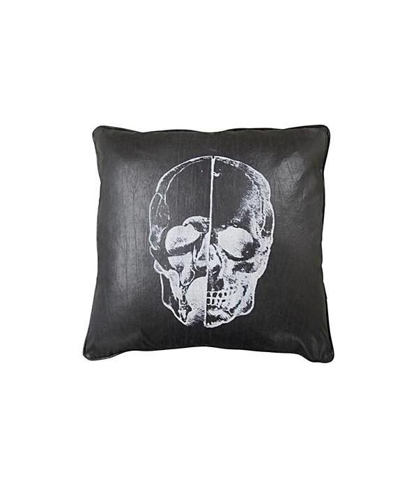 Skull Pillow, Black Fabric, 22x22