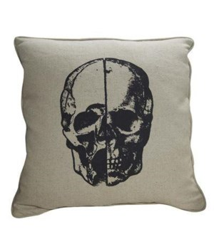 Skull Pillow, Focus Linen Fabric, 22x22