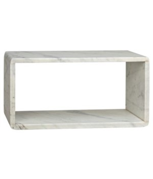Foundation Side Table, Large, White Marble