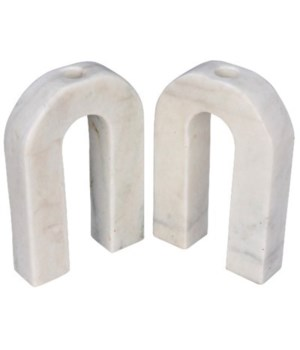 Corinth Candle Holder, White Marble, Set of 2