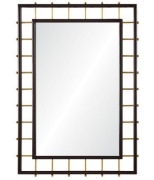 32 x 44 Dark Mahogany and Burnished Brass Mirror