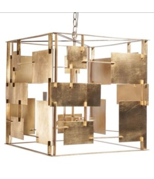 Gold Leaf Abstract Square Chandelier