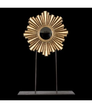 Large Gold Leaf Mini Sunburst Mirror On Iron Stand