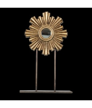 Medium Gold Leaf Mini Sunburst Mirror On Iron Stand