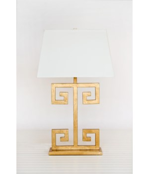 Gold Leafed Greek Key Lamp w Cream Rect. Shade