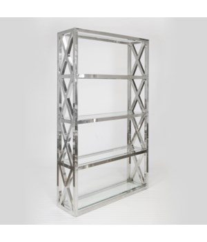"Polished Stainless ""X"" Etagere with Clear Glass Shelves"