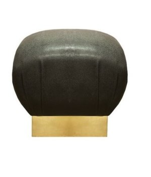 Faux Shagreen Black Pouf w Gold Leaf Base