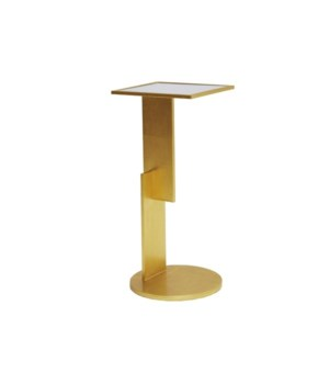 Sculptural Geometric Iron Cigar Table in Gold Leaf
