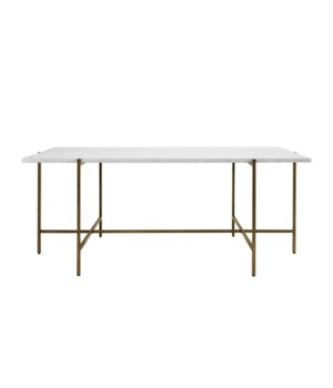 Modern Coffee Table with White Wood Marble Top in Bronze