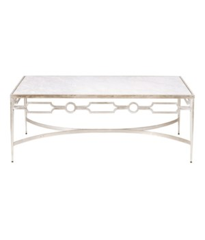Champagne Silver Leaf Coffee Table w White Marble