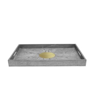 Grey Cerused Oak Tray with Inset Antique Brass Detail