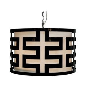 Black Lacquer Greek Key Pendant with Int Shade