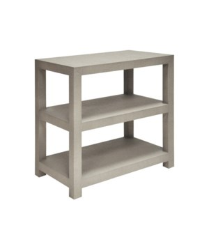 Two Tier Rect Grasscloth Side Table in Grey