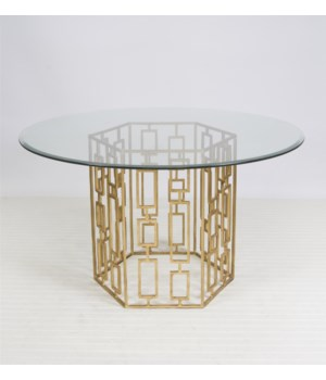 "Gold Leaf Dining Table w 54"" Glass"