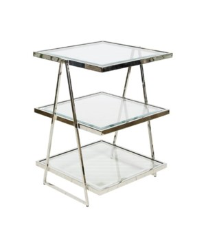 3 Tier Square Nickel Plated Table w Beveled Glass Tops