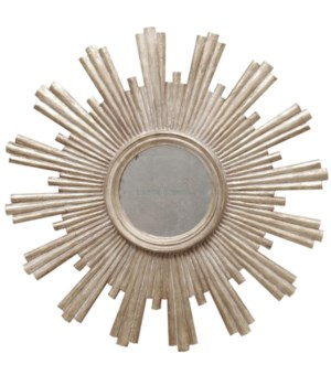 Champagne Silver Leaf Starburst Antique Mirror